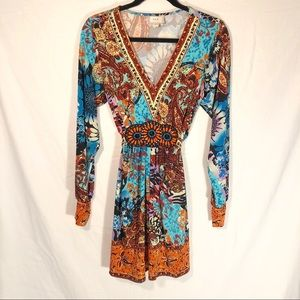 ECI New York Colorful Long Sleeve Dress Size M